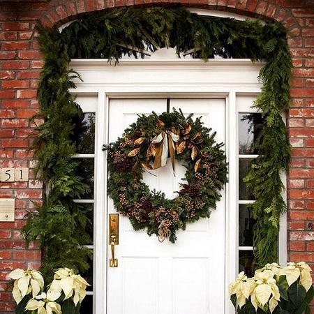 Новогодний украшение двери
