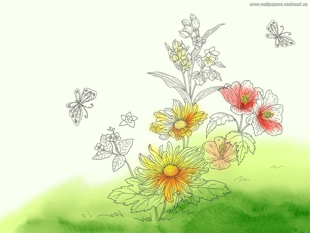 Красивые рисованные картинки цветы 4