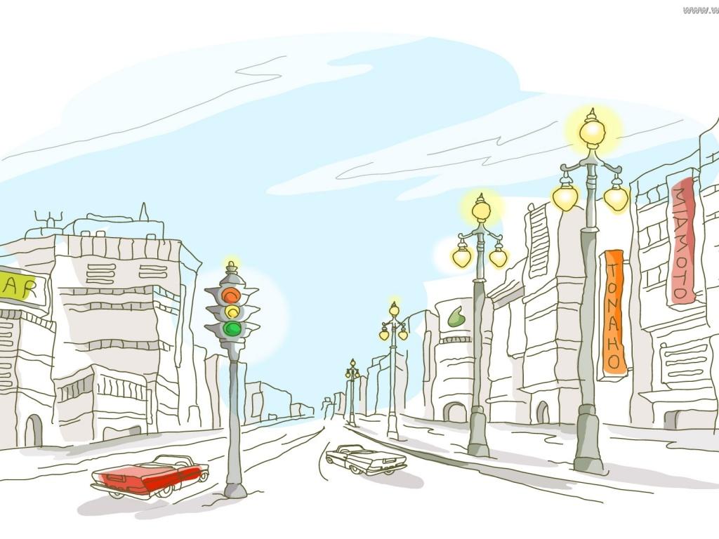 Скачать обои рисованный город, векторный, белый фон, обои на рабочий стол под номером - 382961