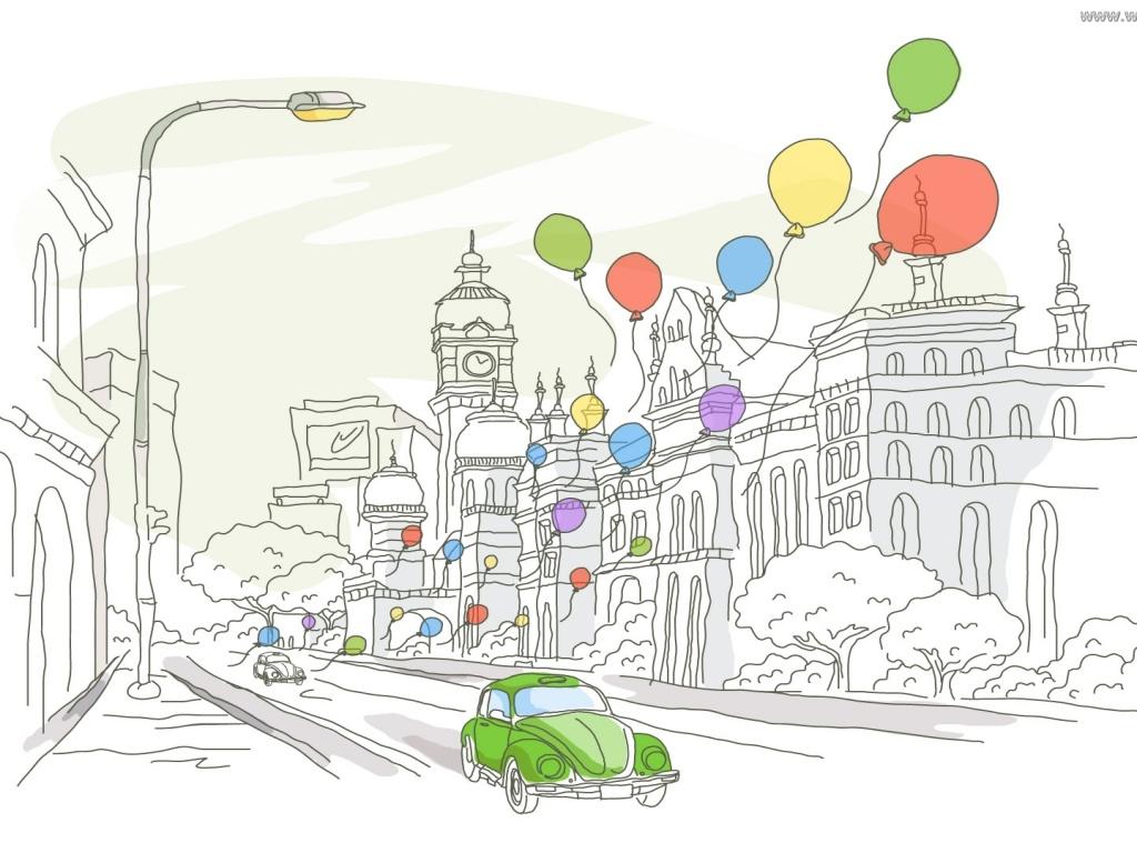 Картинка рисунок, шары, машина 1280x960, фото 84077