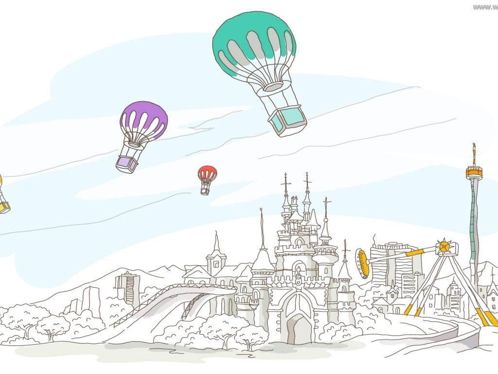 Векторный клипарт - Путешествие на воздушном шаре :: Обои для рабочего стола